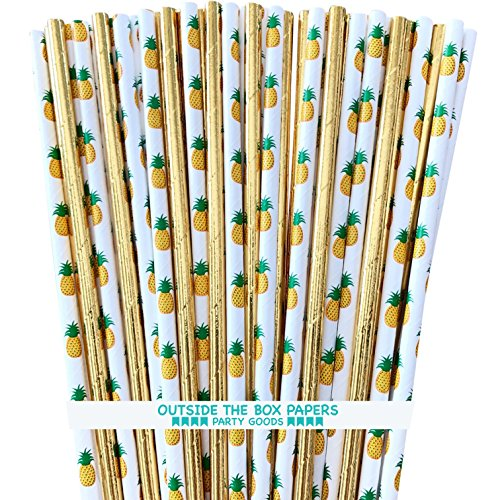 Pineapple Theme and Gold Foil Paper Straws - 7.75 inches - 100 Pack - Green Yellow Gold - Outside The Box Papers Brand