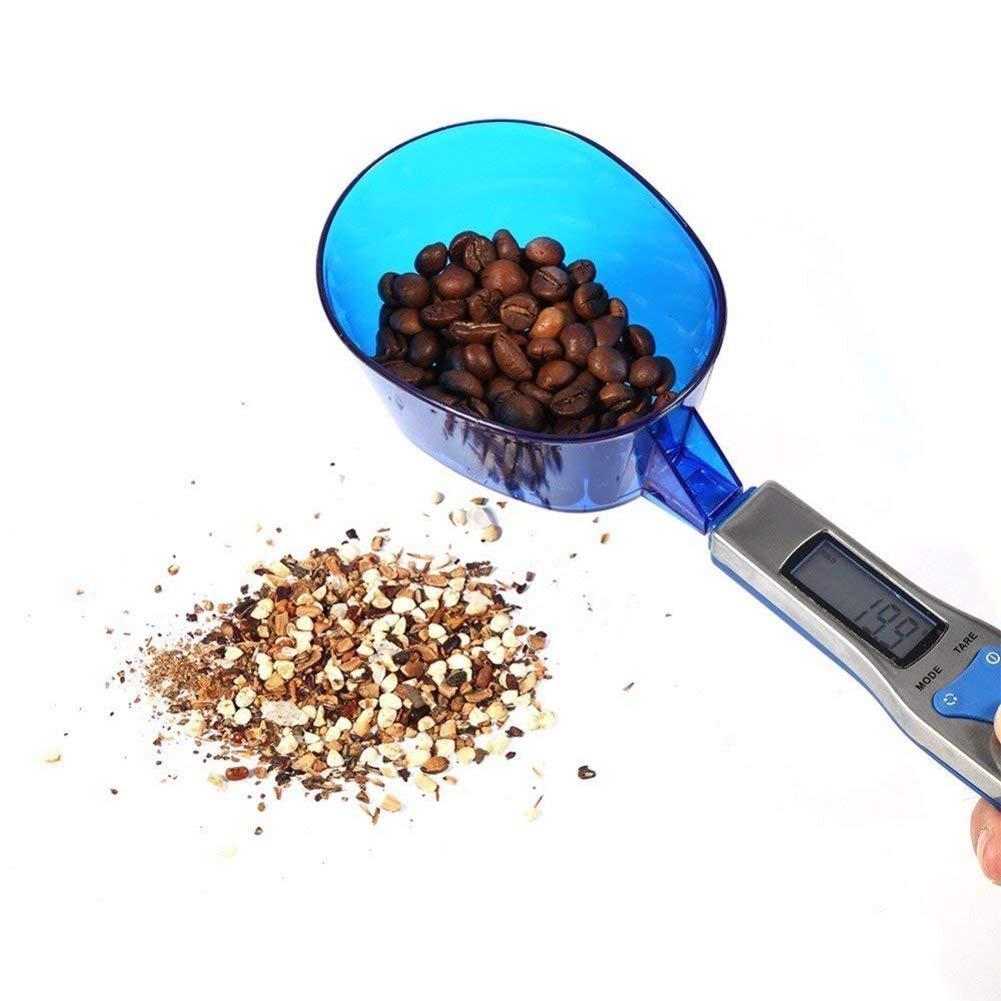 Cuchara Escala Mini LCD Pantalla Digital Cocina Alimentos Balanzas 0.1 G-500G con 3 Cucharas De Pesaje De Plástico Azul Desmontable Conjunto: Amazon.es