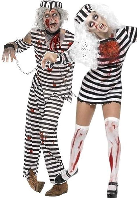 da Uomo   da Donna Coppia di Fancy Vestito Zombie Costume della Prigione  Prigioniero da Halloween 774f6ca92f3f