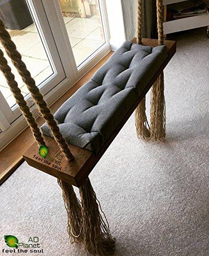 Ad Planet Outdoor Indoor Wooden Hanging Swing Comfertable Seat