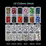Outuxed 5400pcs Hotfix Rhinestone Set Clear Crystal with Crystal AB 6 Sizes(SS6-SS30 )and 12 Colors ss12 Flatback Rhinestone Crafts Round Glass Gemstone with Tweezers and 2 Picking Pens