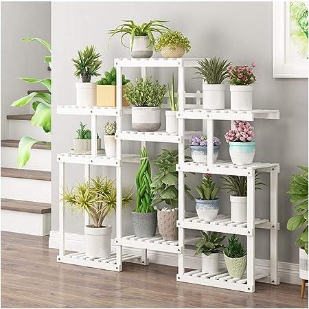 IDWOI Soporte para Flores De Madera Balcón Multicapa Interior Escalera para Plantas Exterior Estantería para Macetas, 2 Colores (Color : White): Amazon.es: Hogar