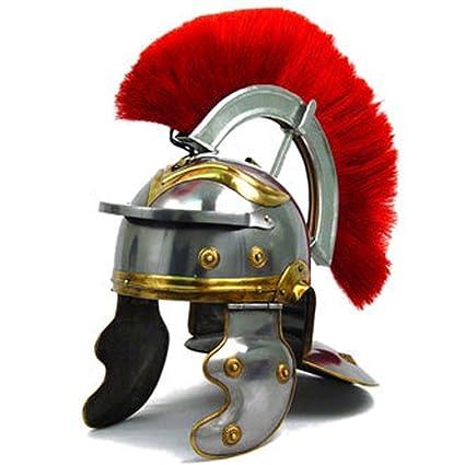 Co Casco de acero cromado con diseño de casco de centurión romano,