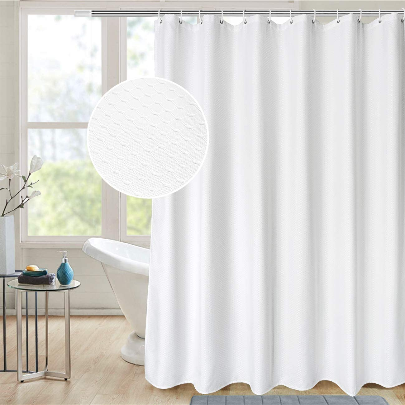 AooHome Extra Long 72x86 Inch Shower Curtain, Fabric Waffle Weave Decor Bath Curtain with Hooks, Weighted Hem, Heavy Weight, Water Repellent, White, 72 Width by 86 Height Inch