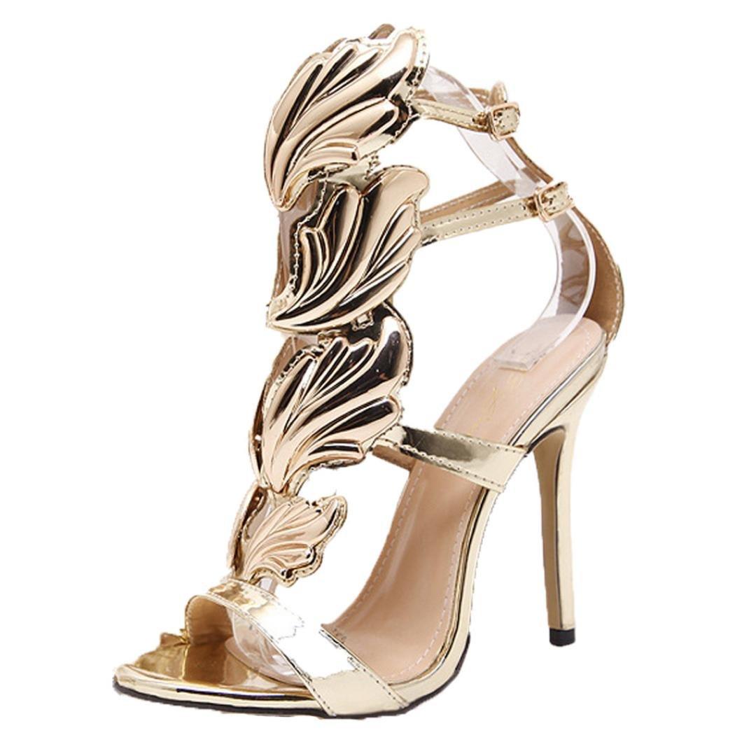 IGEMY Super beliebte Mode Frauen Pumpen Blatt Flame High Heel Schuhe, fantastische Peep Toe High Heels Sandalen39|Gold