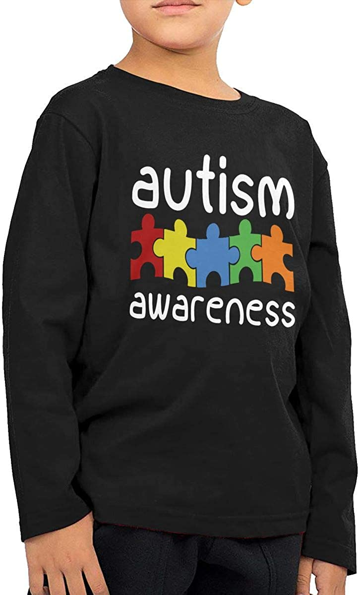CERTONGCXTS Little Boys Autism Awareness ComfortSoft Long Sleeve Shirt