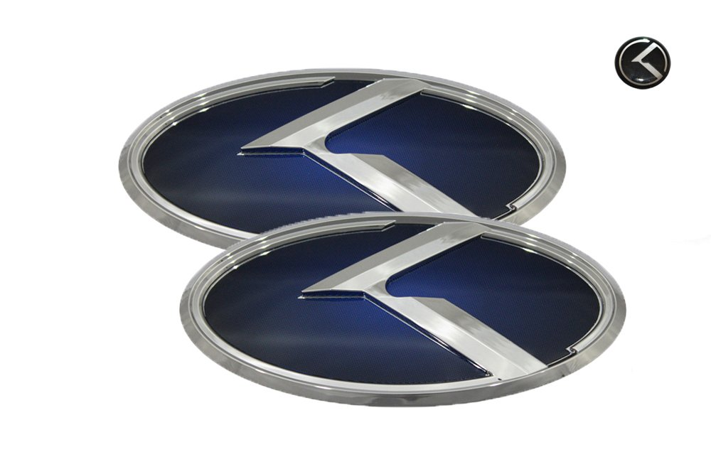 Amazon 3d K Logo Emblem Blue Chrome Edition Set 3pc Front