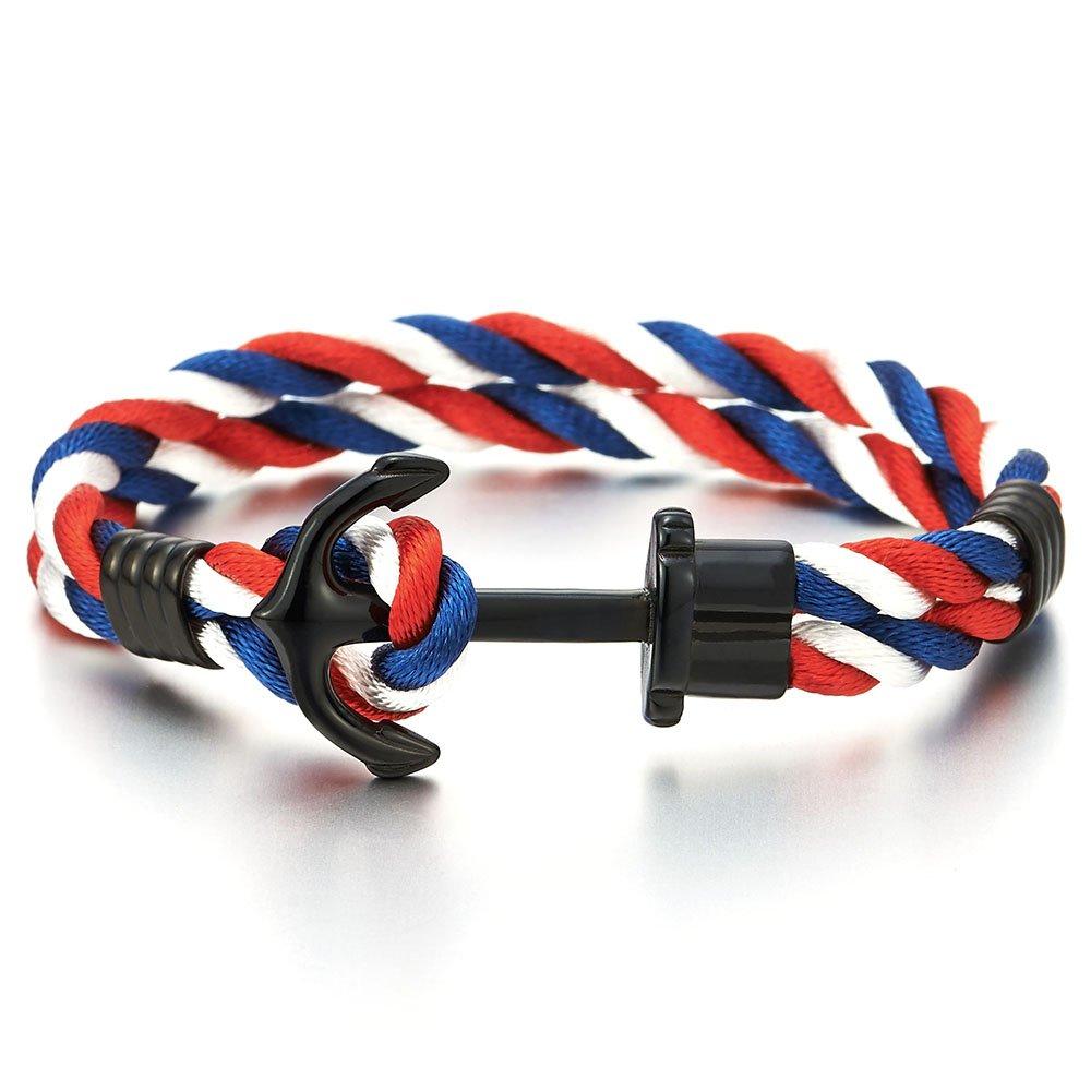 COOLSTEELANDBEYOND Mens Womens Steel Black Marine Anchor Nautical Sailor Colorful Rope Braided Wrap Bracelet Wristband