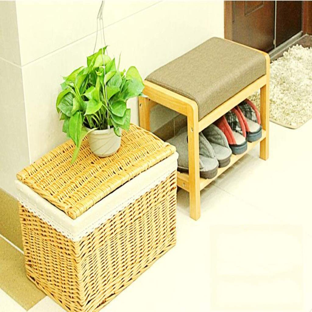 62MJ Change Shoes Stool Solid Wood Fabric Storage Stool Simple Assembly Shoe Rack (Color : Black) by 62MJ