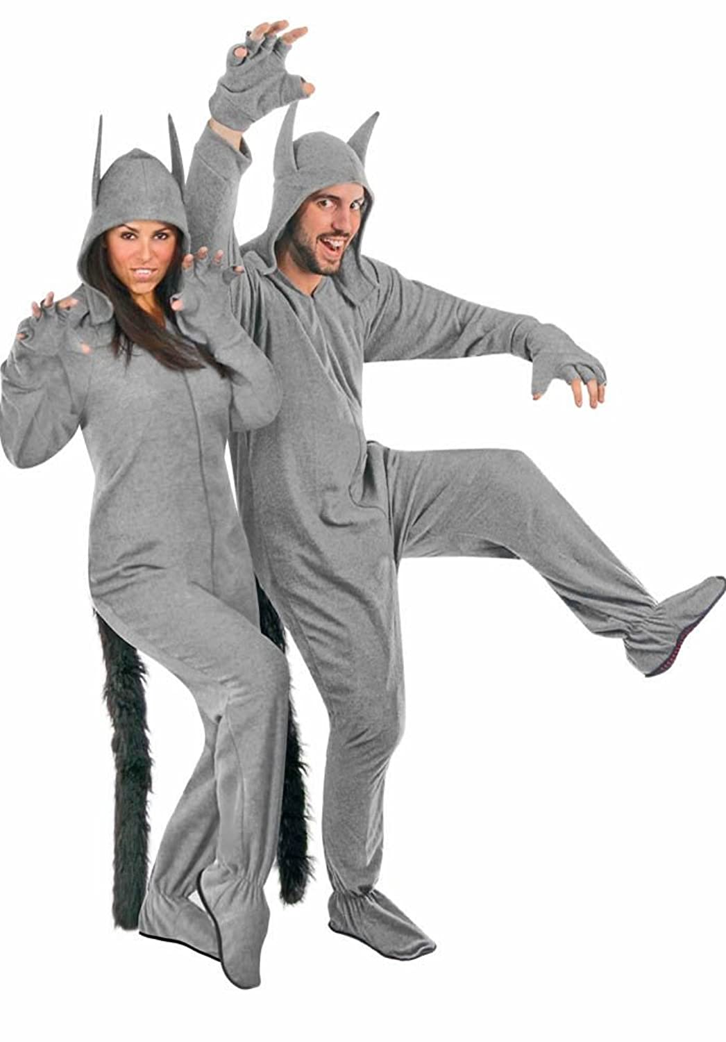 Fleece Adult Grey Wolf Halloween Costume Footed Pajamas