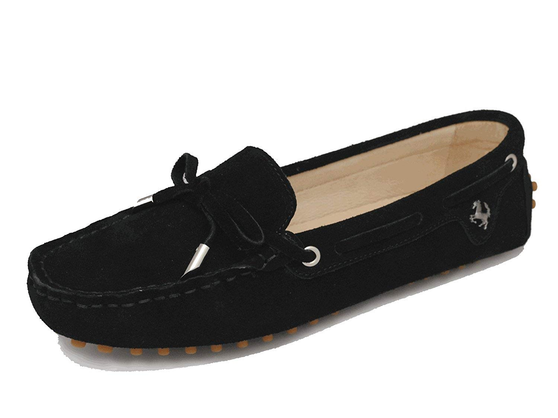 Qiusa Mädchen-Frauen-zufälliges bequemes schwarzes Wildleder-Leder-Knoten-Müßiggänger-Stiefel-Schuh-Ebenen 4 Großbritannien (Farbe   - Größe   -)