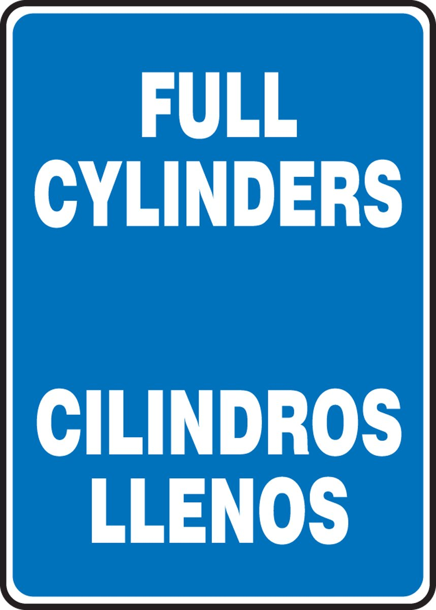 LegendFull CYLINDERS//CILINDROS LLENOS Accuform SBMCPG599VA Aluminum Sign 14 Length x 10 Width White on Blue