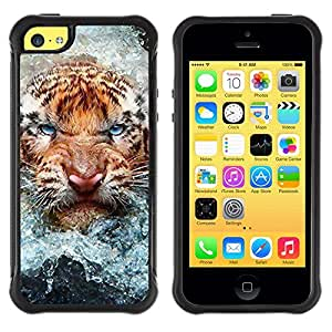 Suave TPU GEL Carcasa Funda Silicona Blando Estuche Caso de protección (para) Apple Iphone 5C / CECELL Phone case / / Angry Cat Tiger Water Nature Animal /