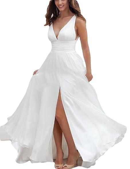 OYISHA Womens V Neck Beach Wedding Dresses Split Chiffon Bridal Dress 101A Ivory 2