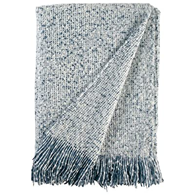 "Stone & Beam Oversized Stripe Brushed Weave Throw Blanket, 60"" x 80"", Indigo / White - The soft brushed yarn of this oversized throw will entice you to take a nap or curl up with a good book. An attractive weave and pleasing neutral color allows this blanket to add comfort to a bedroom or living space of any style 60""W x 80""L 100% polyester yarns - blankets-throws, bedroom-sheets-comforters, bedroom - 61R6MksX3LL. SS400  -"