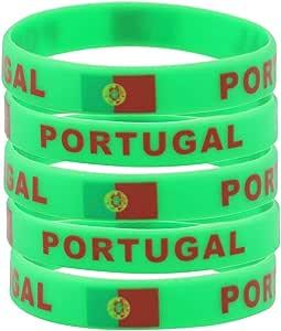 SpringPear® 5X Pulseras de Silicona con Bandera Portuguesa Copa Mundial de la Fútbol FIFA Apoyos de Ventilador (5 Piezas): Amazon.es: Juguetes y juegos