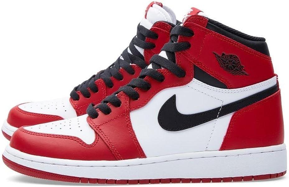 cheap for discount be30d d78c3 Nike Jungen Air Jordan 1 Retro High OG BG Basketballschuhe Rot (Weiß Schwarz -