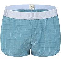 Men's Boy's Cotton Underwear Briefs Breathable Loose Elegant Plaid Underwear Home Shorts Arrow Pants