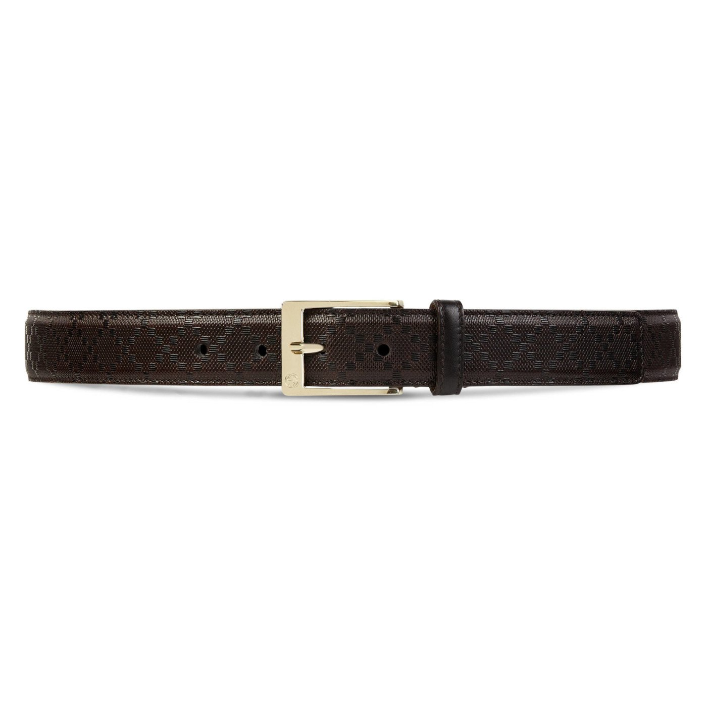 Gucci GG Brown Diamante Leather Square Buckle Belt, Brown, 44