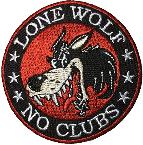 LONE WOLF NO CLUBS Outlaw Biker Punk Ride Hippie Rock Heavy Metal Motorcycle Jacket DIY Applique Embroidered Sew Iron on Emblem Sign Badge Costume Patch
