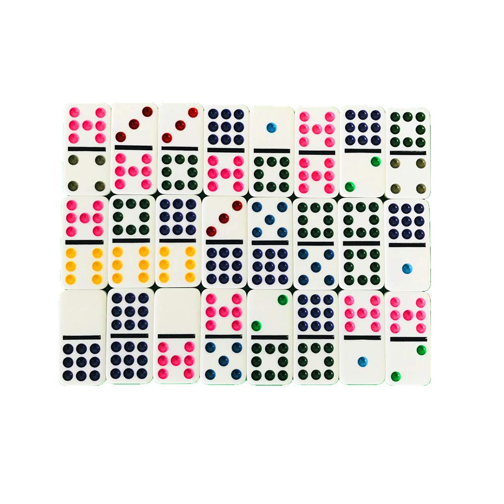 YH Poker Double 6 Color Dot Dominoes with tin Box
