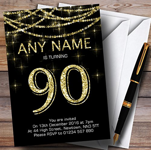 Black & Gold Sparkly Garland 90th Personalized Birthday P...