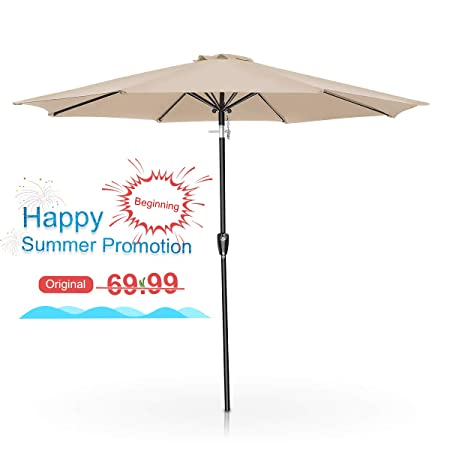 FRUITEAM 9Ft Patio Table Umbrella Outdoor Umbrella with Push Button Tilt and Crank for Commercial Event Market, Garden, Deck,Backyard Swimming and Pool Beige