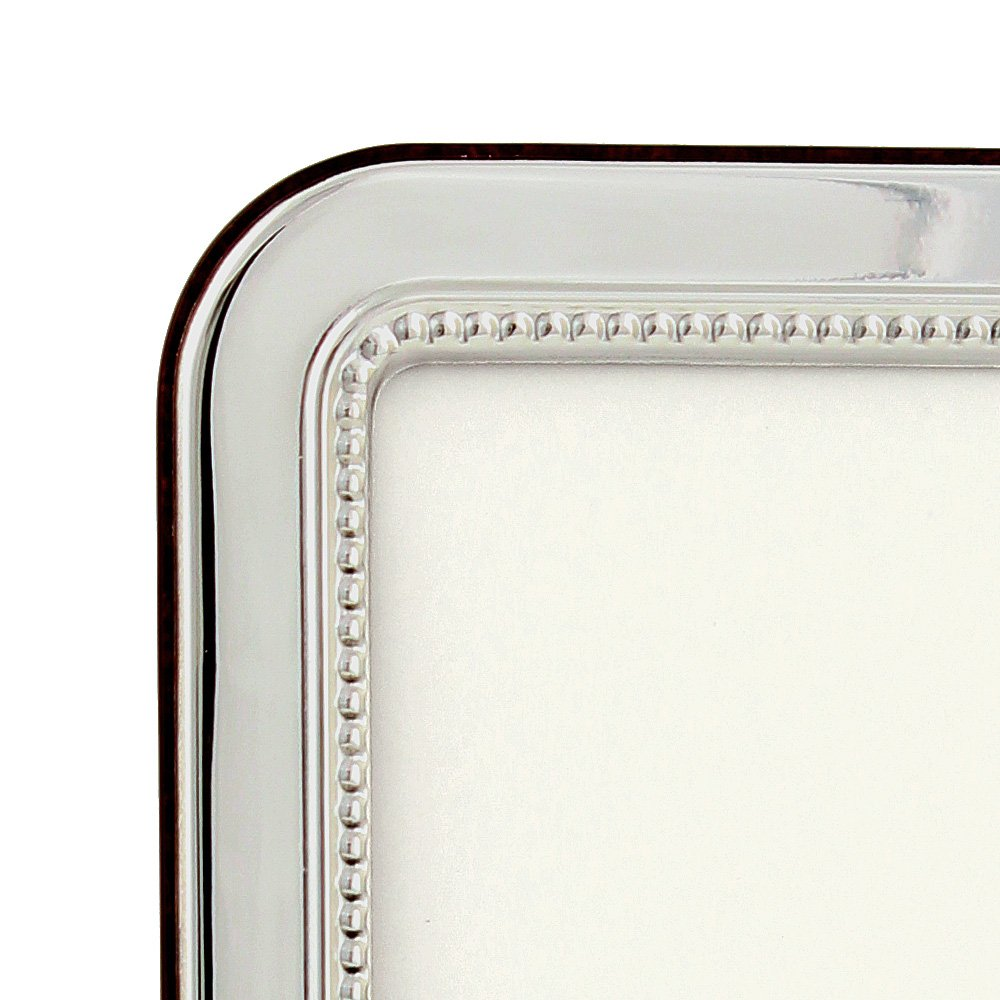 Eccolo Made In Italy Sterling Silver Frame, Beaded Round Edge, Holds a 4 x 6-Inch Photo