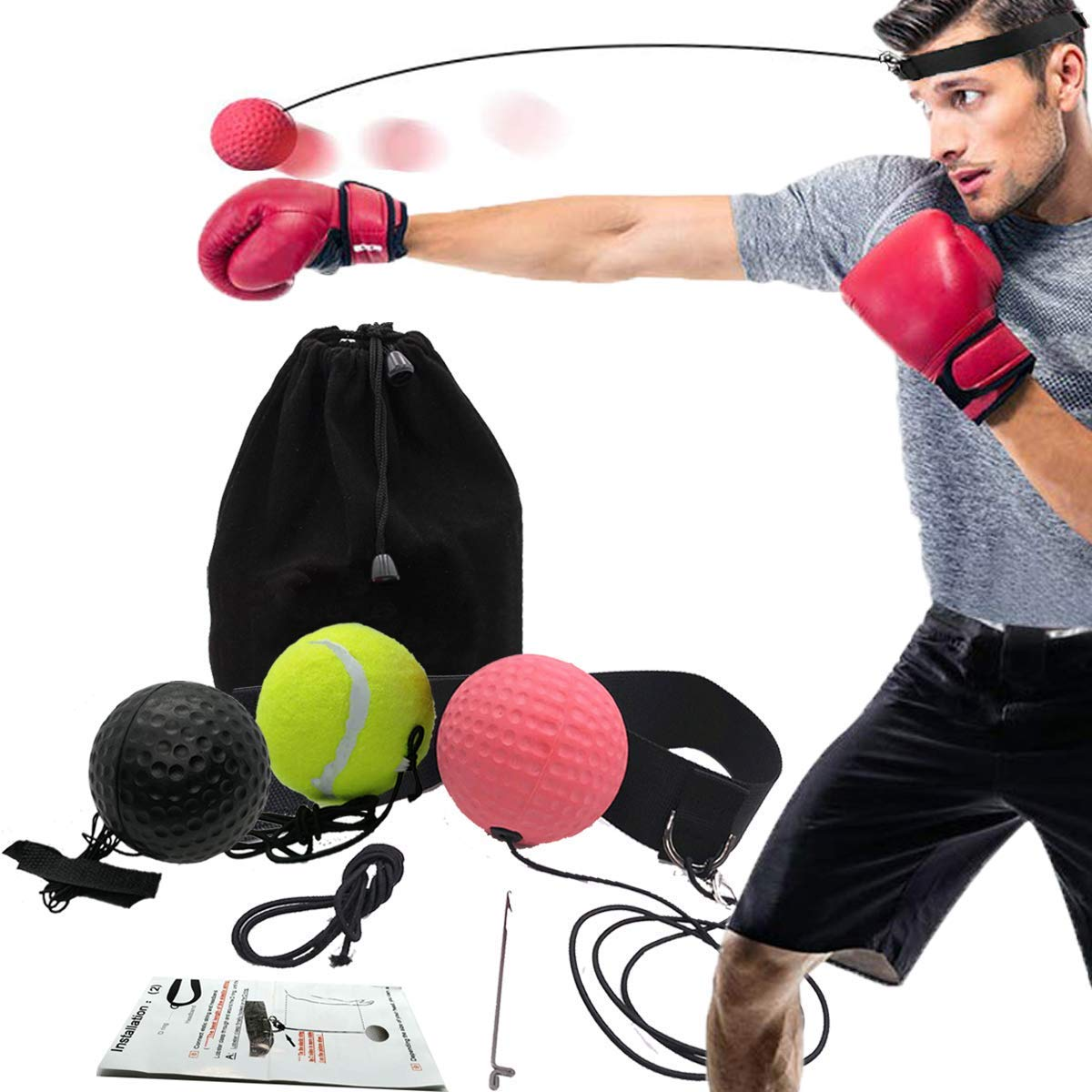Reflex Fightball Fighting Decompression Speed Fitness Punching Boxing Ball With Headband BuguCat Boxing Training Ball Speedball Training Machine At Home And Outdoor For Boxing Training