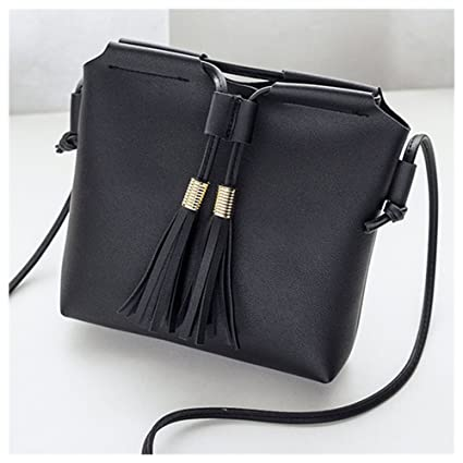 054493d398cd Hot One Leather Shoulder Bag small Tote Crossbody Bag for women with Tassel  Phone Bag (Black)