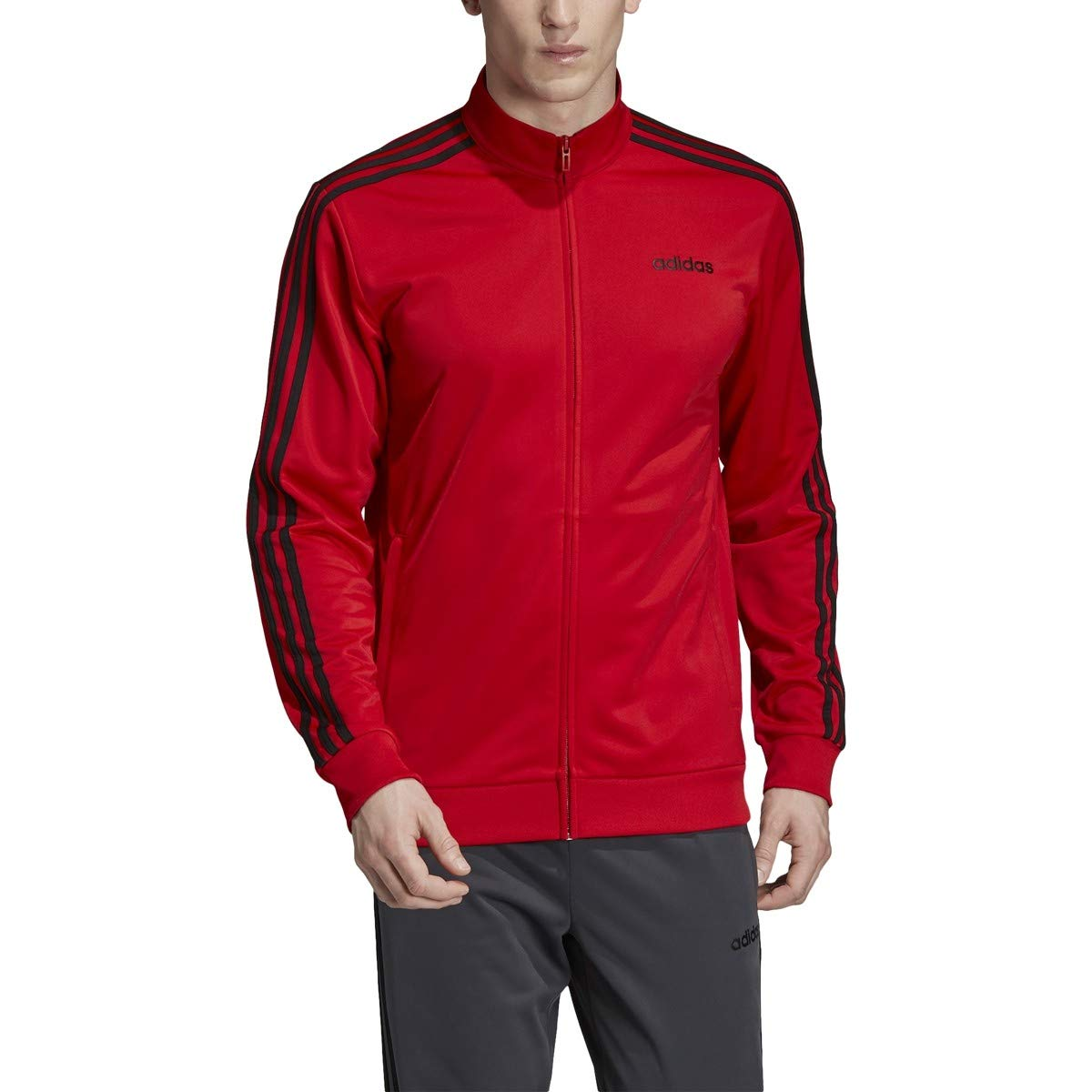 adidas Essentials Men's 3-Stripes Tricot Track Jacket, Scarlet, 5X-Large by adidas