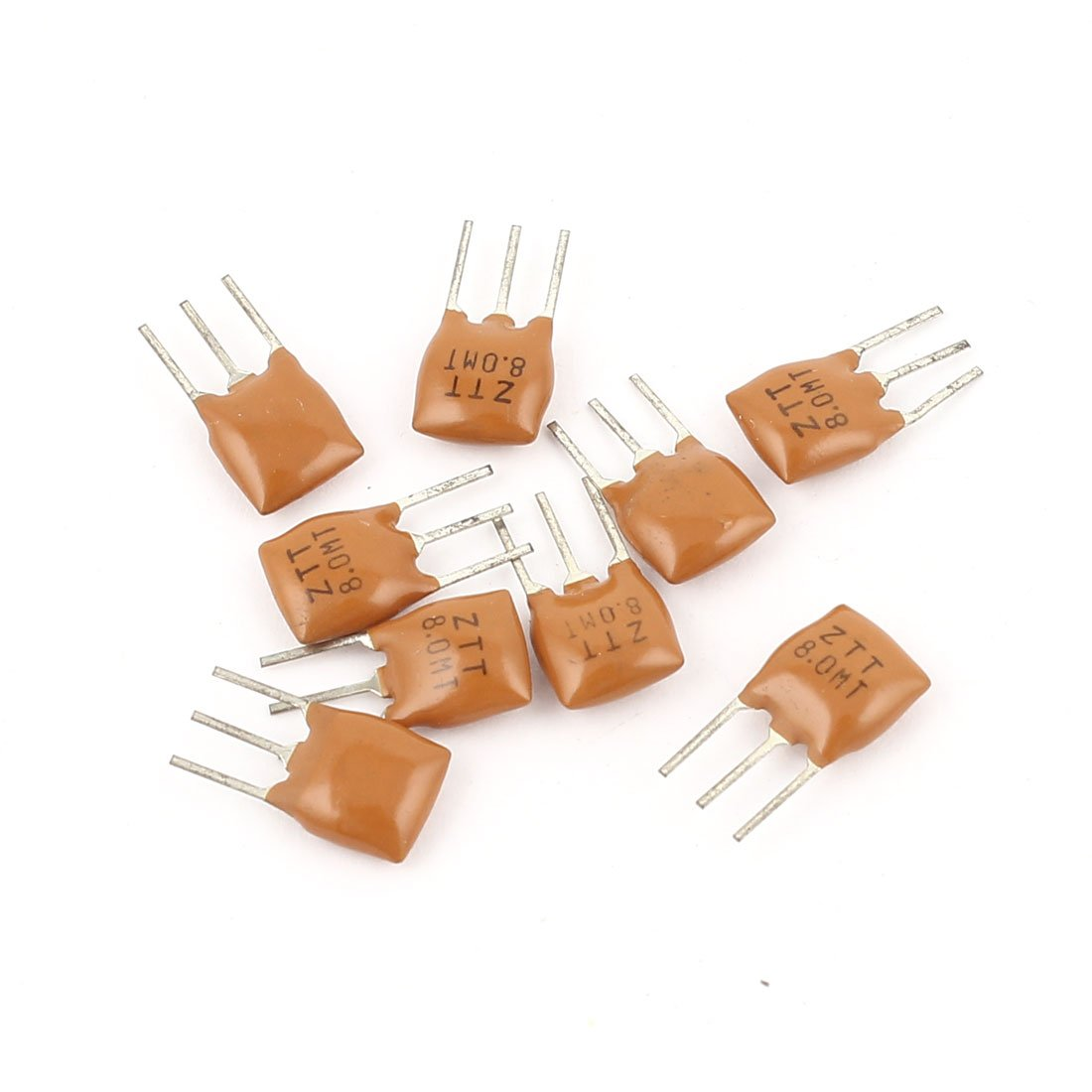 Aexit 10 Pcs Passive Components Radial Lead 3 Poles Ceramic Filter Crystal Resonator ZTT8.0M Crystals 8MHz Frequency