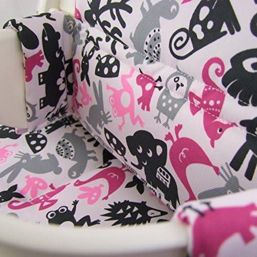 asiento de 2/piezas BambiniWelt en 20/colores Coj/ín de asiento para trona Stokke Tripp Trapp funda de repuesto Hellgrau Rosa Katze