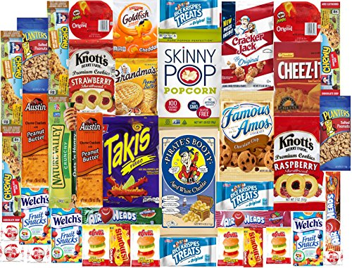 Cookies Chips & Candies Snacks Variety Pack Bulk Sampler Assortment for Office, Meetings, Schools, Friends & Family, Military, College, ( Care Package 40 Count ) (Sampler Snacks)
