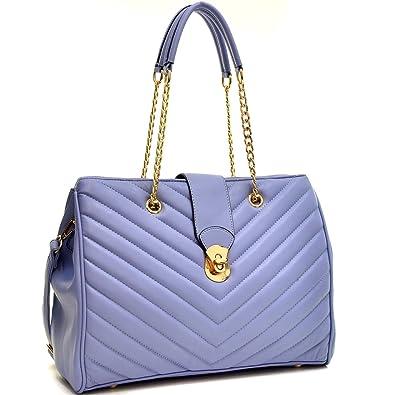 Amazon.com  Dasein Faux Leather Chevron Quilted Satchel Tote Shoulder Bag  Handbag - Blue  Shoes 2f02aa6b0e2ab