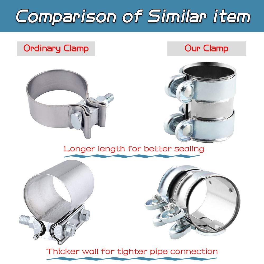 Lap Joint+Bolts Band Flanges Clamp Stainless Steel Universal for Muffler Downpipe Catback Pipe Connector Ruien 2 inch Hardware Exhaust Clamp
