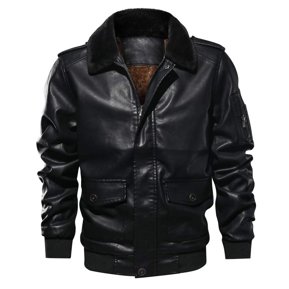 Men's Coats for Men's Lapel Fur Collar Leather Pocket Flying Tactical Coat,Parka (M,Black) by Ennglun Jacket mens Coats