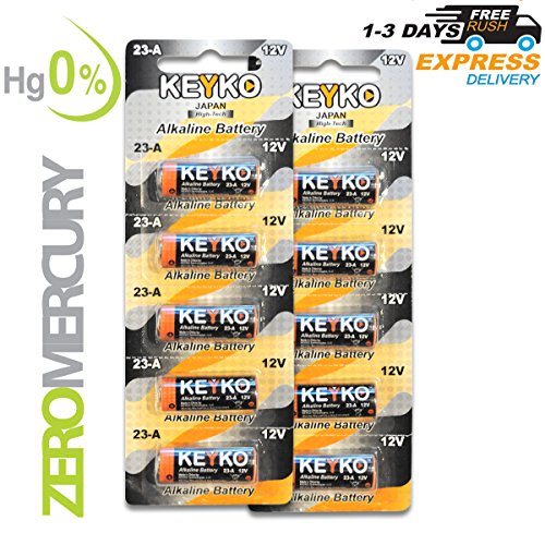 A23 Battery 12V Alkaline Genuine KEYKO174; 10-Pcs Pack Type: