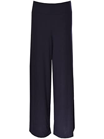 77197fc245c RIDDLED WITH STYLE Plus Size Womens Plain Palazzo Wide Leg Flared Ladies  Printed Trousers Pants 8-26  Amazon.co.uk  Clothing