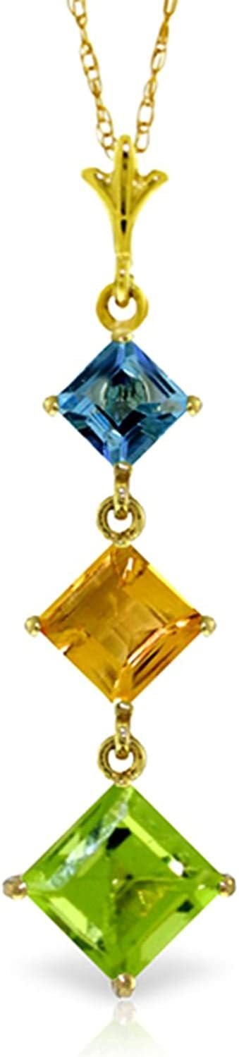 ALARRI 2.4 Carat 14K Solid Gold Necklace Blue Topaz Citrine Peridot with 22 Inch Chain Length