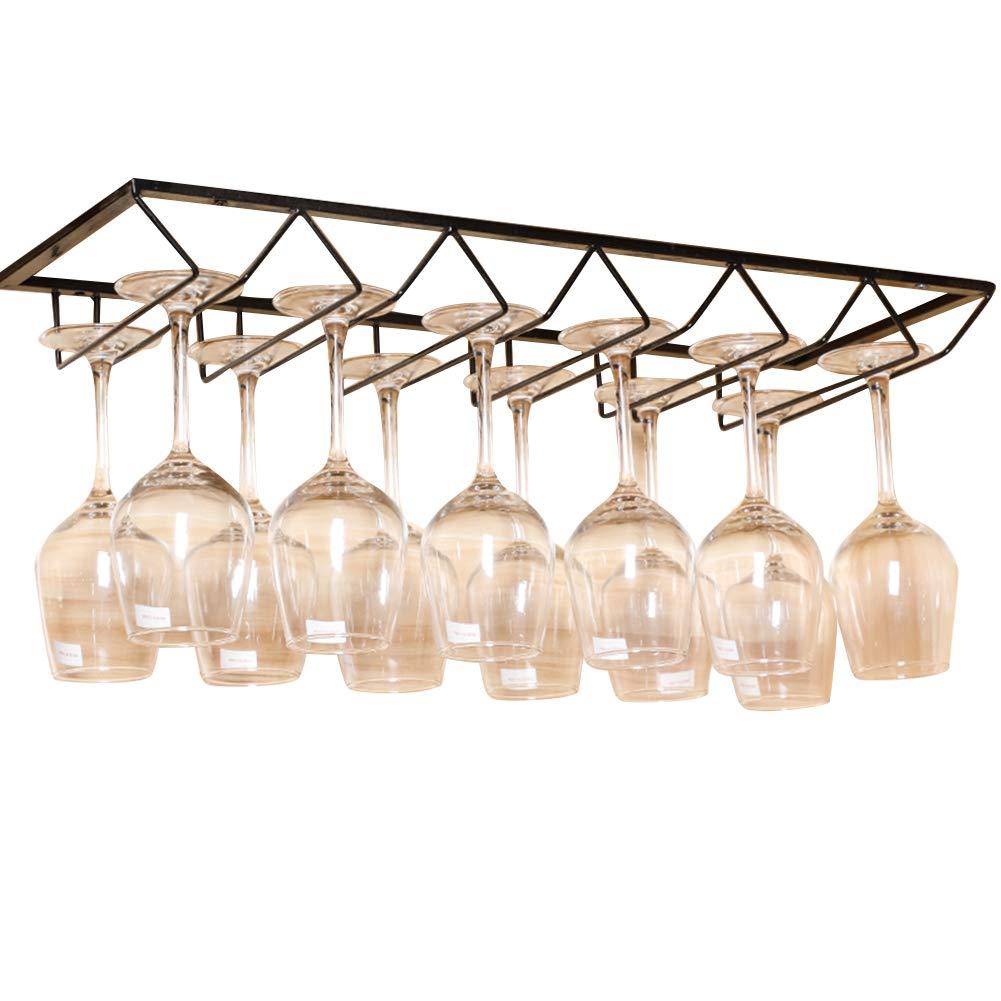 Lzttyee European Style Iron 6-slot Triangle Design Hanging Wine Glass Organizer Storage Holder Under Cabinet Stemware Rack Hanger (Black) by Lzttyee