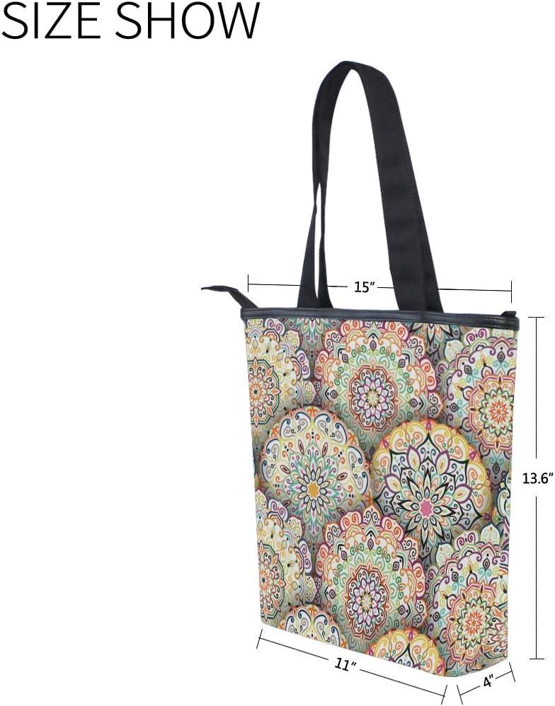 Mandala Pattern With Yellow Floral Canvas Tote Bag,Fashion Large Capacity Handbag for Women Travel