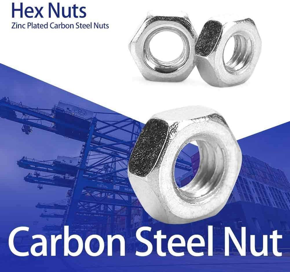 M2(100pcs) Neufday Thread Hex Hexagonal Nuts Fasteners 100pcs//set Zinc Plated Carbon Steel M2-M5