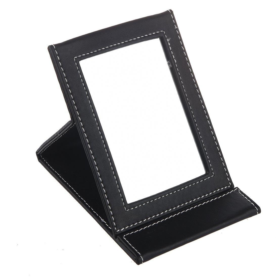 Miroir - TOOGOO(R)Maquillage Miroir Voyage Cuir Pliable Portable Miroir Noir SHOMAGT31262