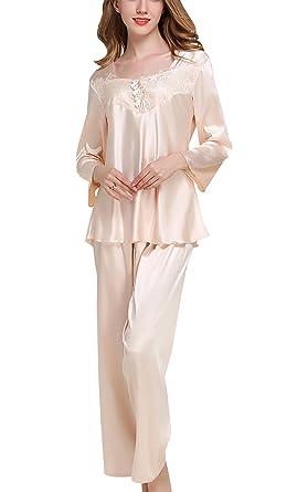 c30713b8795fac Sihuan Damen Eleganter Zweiteiliger Schlafanzug Seide Pyjama Set Langarm  Spitze Sleepwear Homewear Nachtw?sche