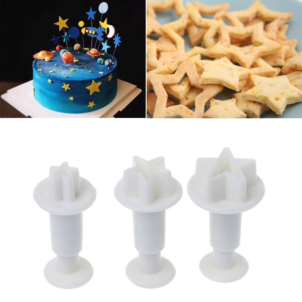LIYUDL Star Fondant Plunger Cutter Set Sugar Craft Cake Cookies Cupcake Decorating Tool DIY Mold, 3 Pack