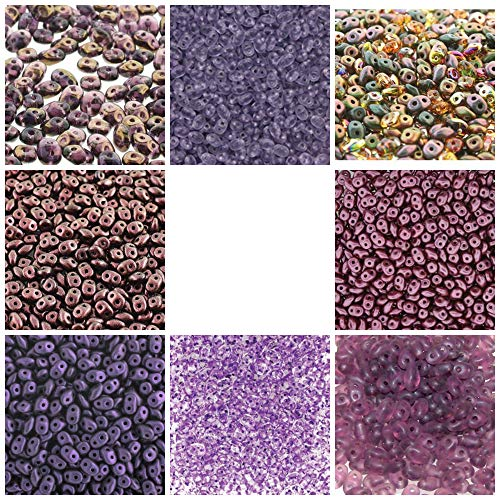 SUPERDUO Purple Mix Bead Kit, 8 Colors, 10 Grams Each. Purple, Violet, Amethyst, Burgundy. Two Hole Beads. Free 1st Class Shipping!
