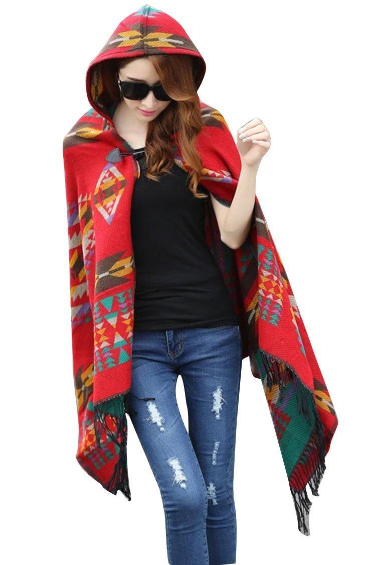 Nueva americano indio Navajo diseño con capucha Poncho mantón rojo