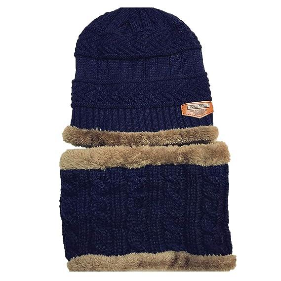 Boomly Bébé Bonnet à Tricoter Écharpe Tube Doublure en Polaire Douce Chapeau  d hiver Chaud Épaissir Chapeau de Laine Elastic Neck Warmer Plus Velours  Beanie ... 7221b21e4a7