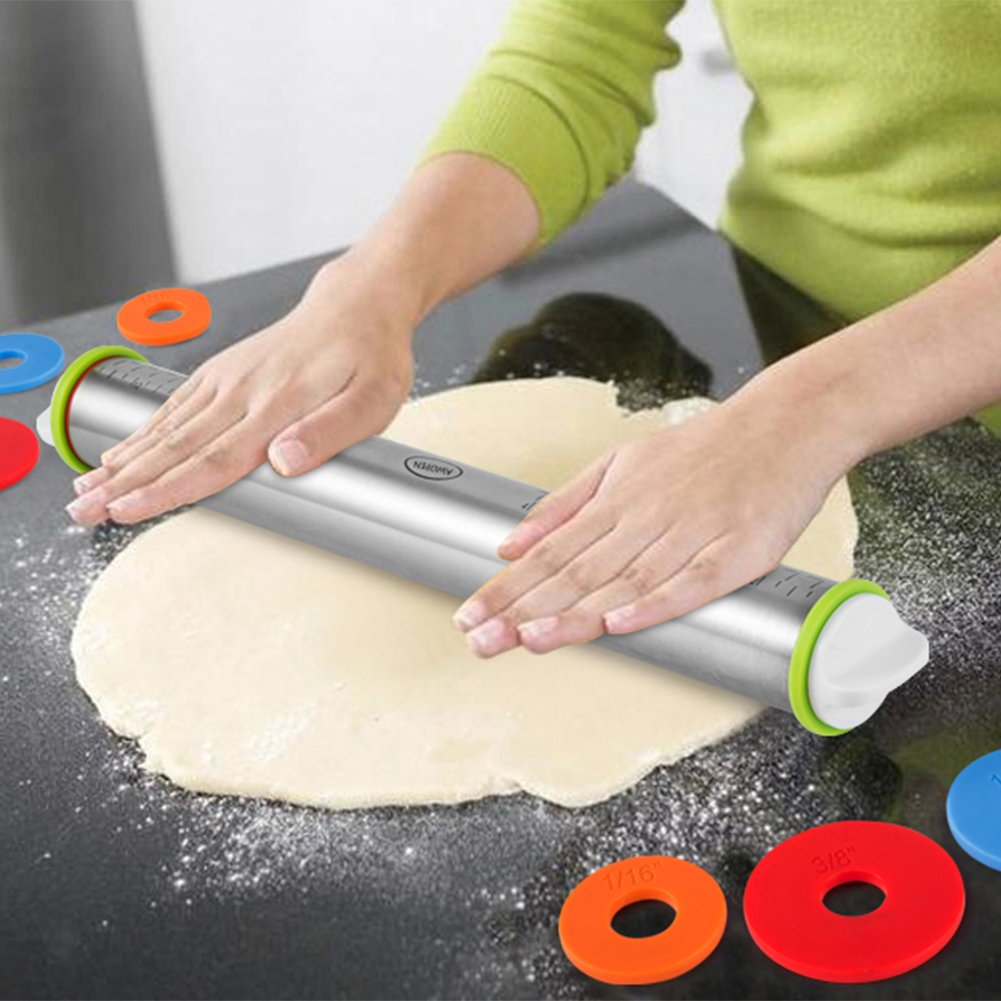 Large Heavy Duty Rolling Pin Made by Stainless Steel Metal, 15 inch, with Adjustable Discs,Kitchen Tools for Women, Men, Kids, Girls, Adults, Teens, Toddlers - French Style by AWOPEN (Image #6)